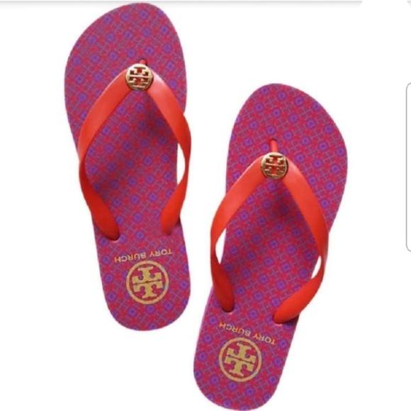 Nwob Tory Burch Flip Flops Pink Orange